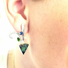 Load image into Gallery viewer, Malachite/Azurite Drusy Earrings