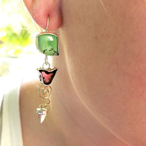 Chrysoprase and Watermelon Tourmaline Earrings