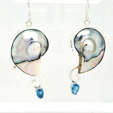 Load image into Gallery viewer, Nautilus Shell+Blue Topaz+Freshwater Pearls+Sterling Silver+Asymmetric Earrings
