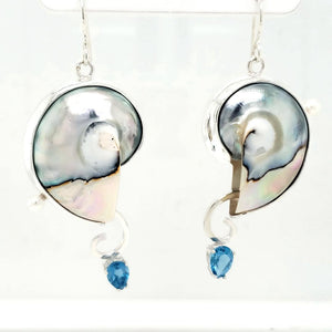 Nautilus Shell+Blue Topaz+Freshwater Pearls+Sterling Silver+Asymmetric Earrings