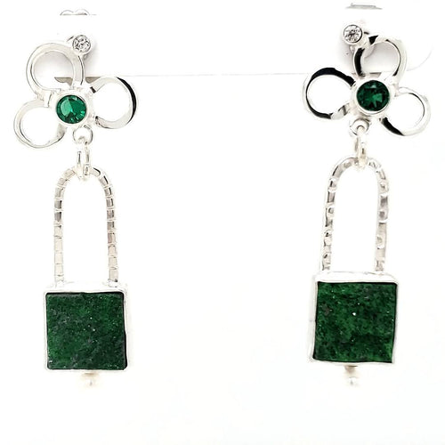 Tsavorite Drusy Earrings - kim crocker designs