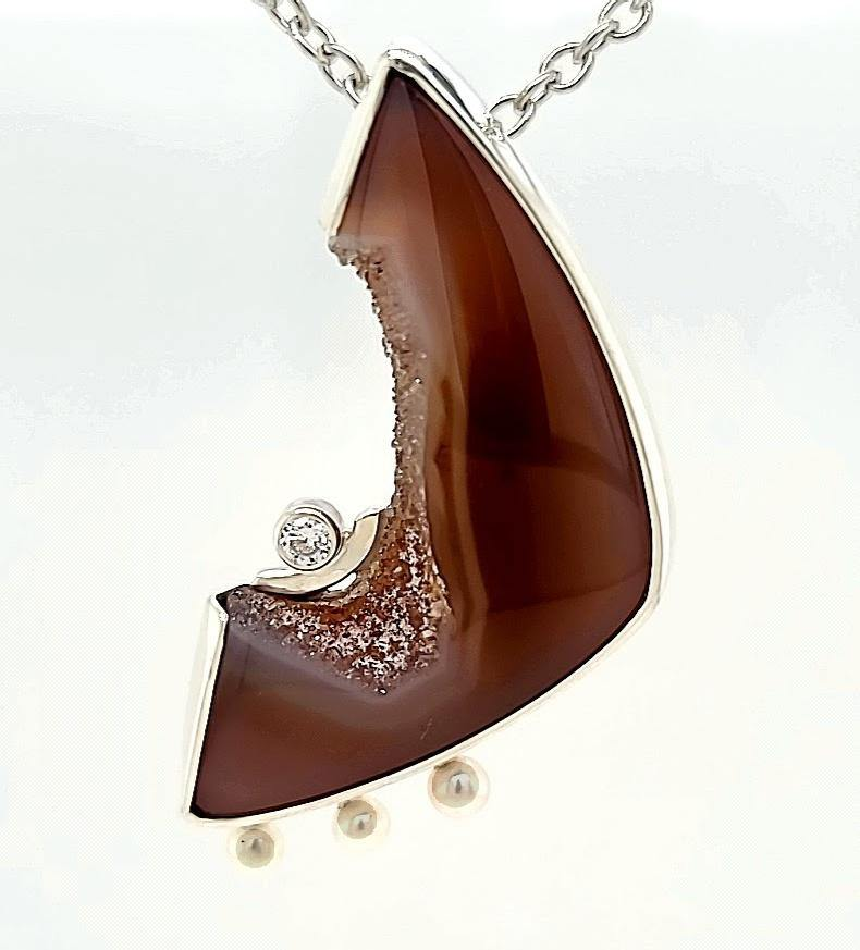 Drusy Agate Pin and Pendant - kim crocker designs