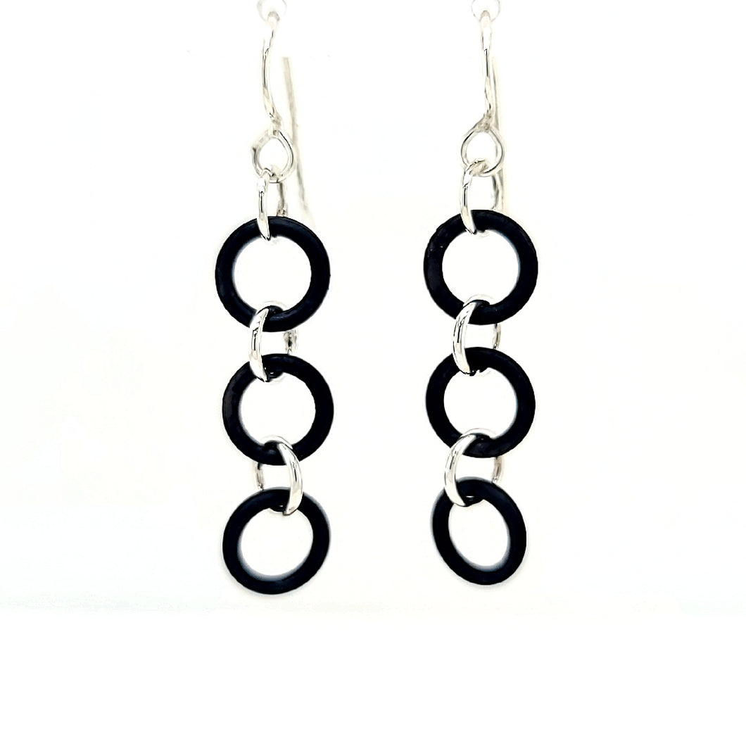 Sterling Silver Earrings with Black Rubber Rings