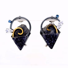 Load image into Gallery viewer, Oxidized Sterling Silver Asymmetric earrings with Black Drusy, Blue Sapphire, Cubic Zirconia and Freshwater Pearls with 18k Yellow Gold accents.