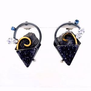 Oxidized Sterling Silver Asymmetric earrings with Black Drusy, Blue Sapphire, Cubic Zirconia and Freshwater Pearls with 18k Yellow Gold accents.
