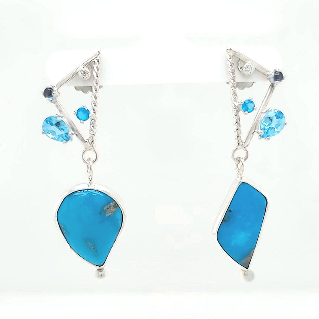 Turquoise, Blue Topaz, Neon Apetite and Freshwater Pearl Sterling Silver Earrings.