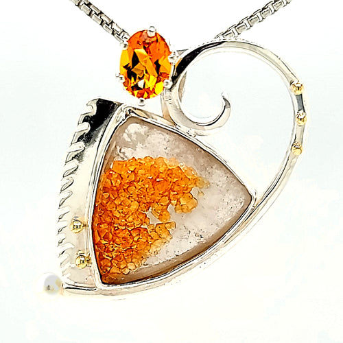 Spessarite on Quartz, Sterling Silver combination pin/pendant with Citrine and Freshwater Pearls and 18k Gold accents.