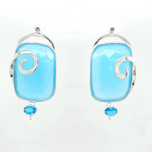 Load image into Gallery viewer, Blue Chalcedony Earrings