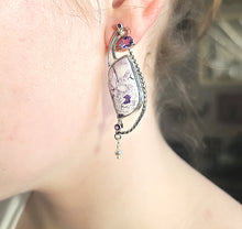 Load image into Gallery viewer, Tiffany Jasper and Amethyst Earrings