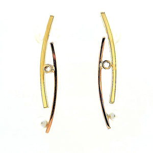 Curved 18k and 14k Gold Earrings