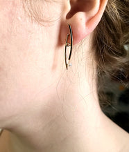 Load image into Gallery viewer, Curved 18k and 14k Gold Earrings