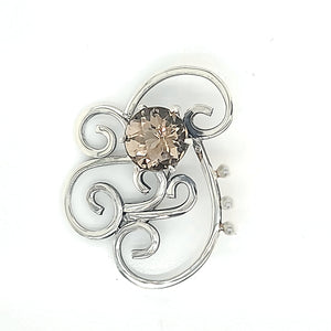 Beautiful and elegant Smoky Quartz Pin in Sterling Silver with Freshwater Pearls.