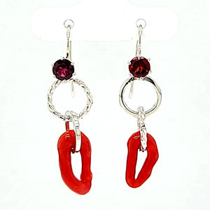 Naturally formed Italian Coral triangles earrings, Set with beautiful Orisssa Garnet in Sterling Silver