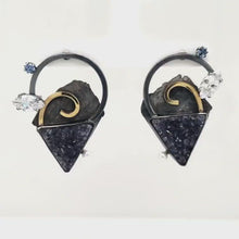 Load and play video in Gallery viewer, Black Drusy Earrings