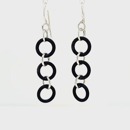 Video of Black and Silver Earrings