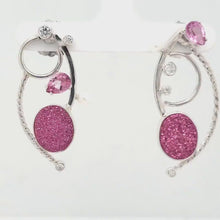 Load and play video in Gallery viewer, Pink Drusy with Pink Topaz Earrings
