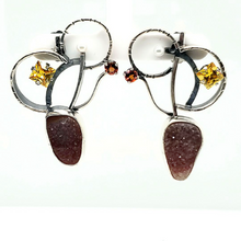 Load image into Gallery viewer, Asymmetric Oxidized Sterling Silver Earrings with Carnelian Drusy, Yellow Spinel and Twighlight Topaz and Freshwater Pearls.