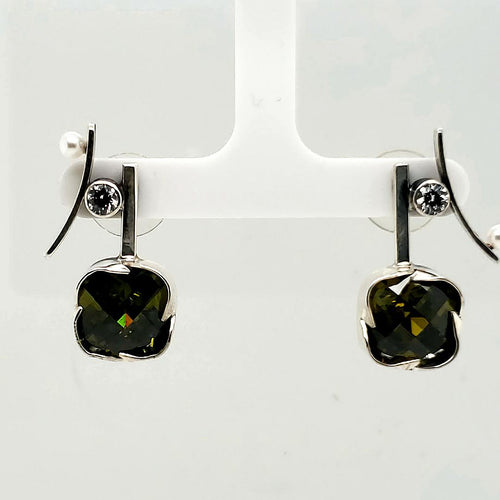 Peridot Cubic Zirconia Earrings - kim crocker designs