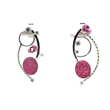 Load image into Gallery viewer, Pink Drusy with Pink Topaz Earrings