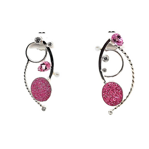Pink Drusy with Pink Topaz Earrings