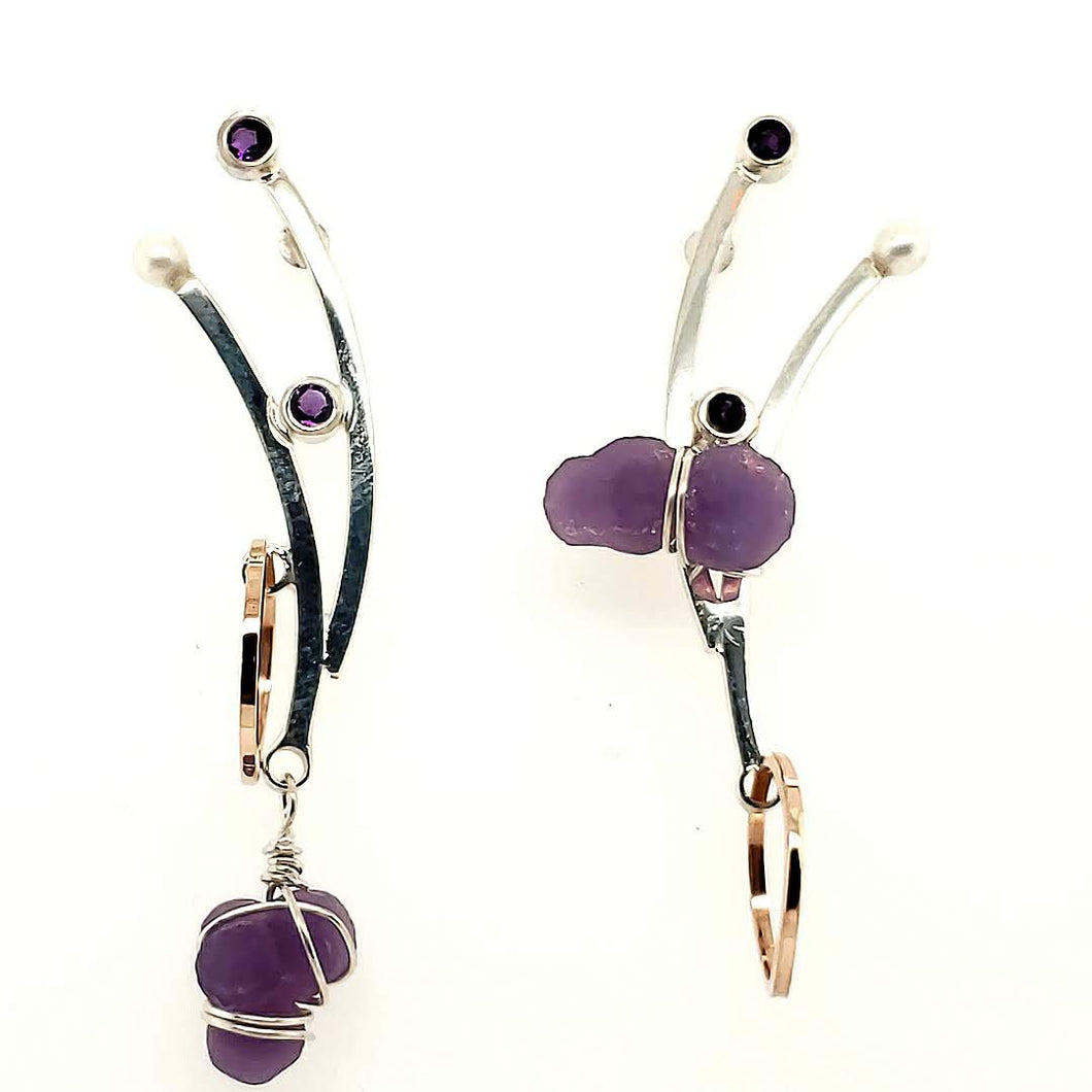 Asymmetric Grape Agate Earrings set in Sterling Silver with Amethyst and Freshwater Pearls.  Also with 14k Rose Gold accents.