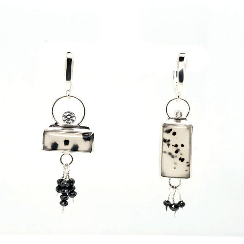Montana Agate+Cubic Zirconia+Black Diamonds+Sterling Silver+Asymmetric+Leverbacks