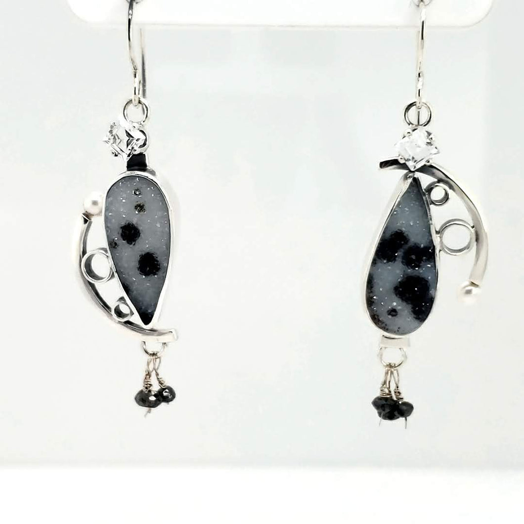 spotted drusy+black diamonds+white topaz+sterling silver+freshwater pearls