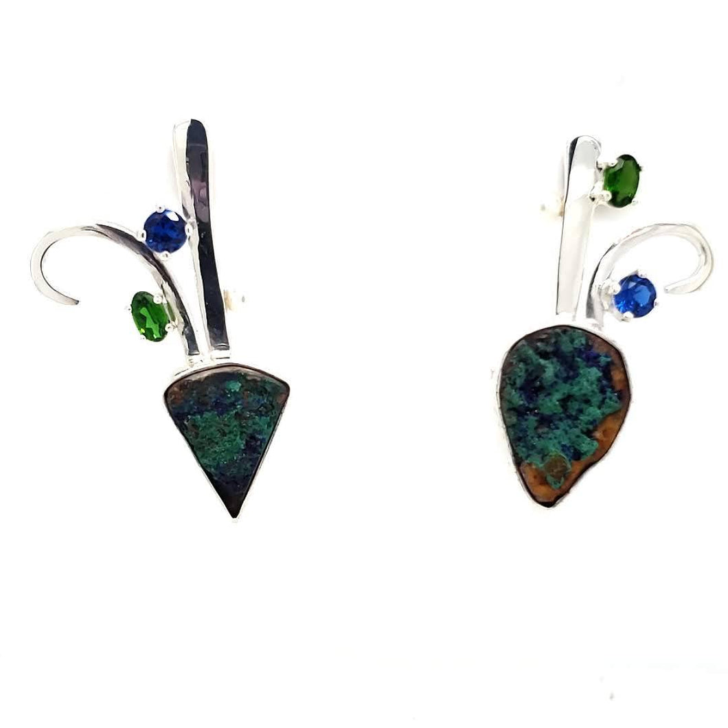 Malachite/Azurite Drusy + Chrome Diopside  + Spinel Sapphire + Freshwater Pearls + Sterling Silver