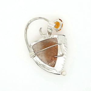 Spessarite on Quartz Pin and Pendant - kim crocker designs