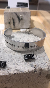 Mens Aluminium Coordinates Cuff - The St. Ives Co. Cornwall Cornish Souvenir Holiday beach