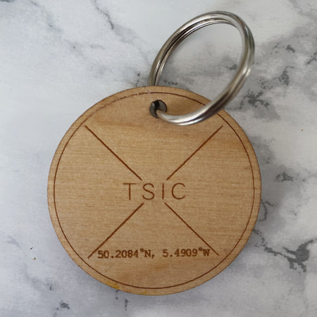 Original TSIC St. Ives View Engraved Key Ring - The St. Ives Co. Cornwall Cornish Souvenir Holiday beach