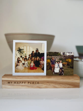 My Happy Place Wooden Photo Holders - The St. Ives Co. Cornwall Cornish Souvenir Holiday beach Gift Decorative Quality Best Present