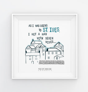 'As I was going to St. Ives' Print - The St. Ives Co. Cornwall Cornish Souvenir Holiday beach