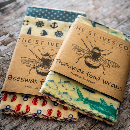 Bee Retro Food Wraps - The St. Ives Co. Cornwall Cornish Souvenir Holiday Souvenir Holiday Beach Food Fresh Hygiene Kitchen