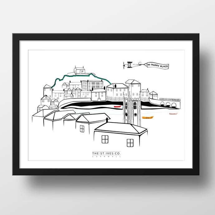Bright Classic St. Ives View Print - The St. Ives Co. Cornwall Cornish Souvenir Holiday Beach Gift Illustration Art