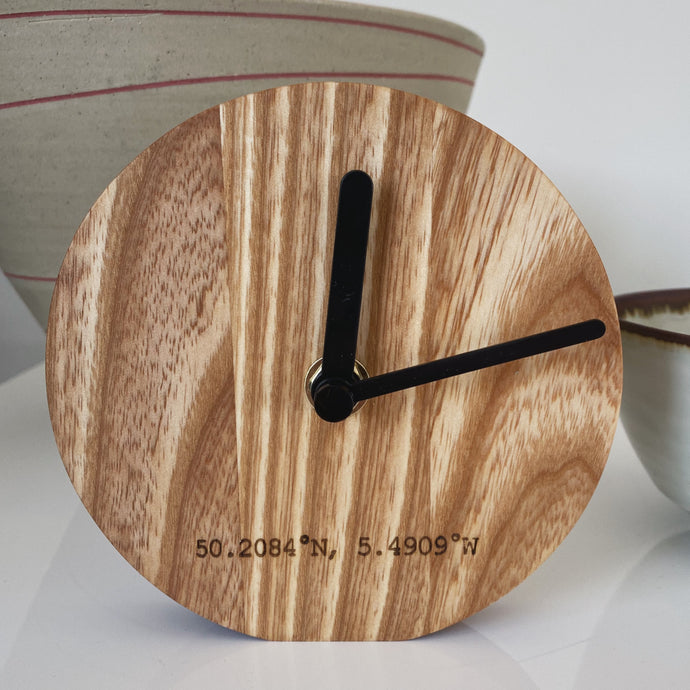 St. Ives Woodcraft Desk Clock - The St. Ives Co. Cornwall Cornish Souvenir Holiday beach