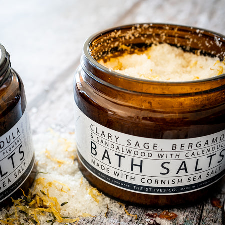 Clary Sage, Bergamot & Sandalwood with Calendula Bath Salts - The St. Ives Co. Cornwall Cornish Souvenir Holiday Beach Gift Relaxing Calm Refreshing Soak Present Joy Handmade Quality Pure