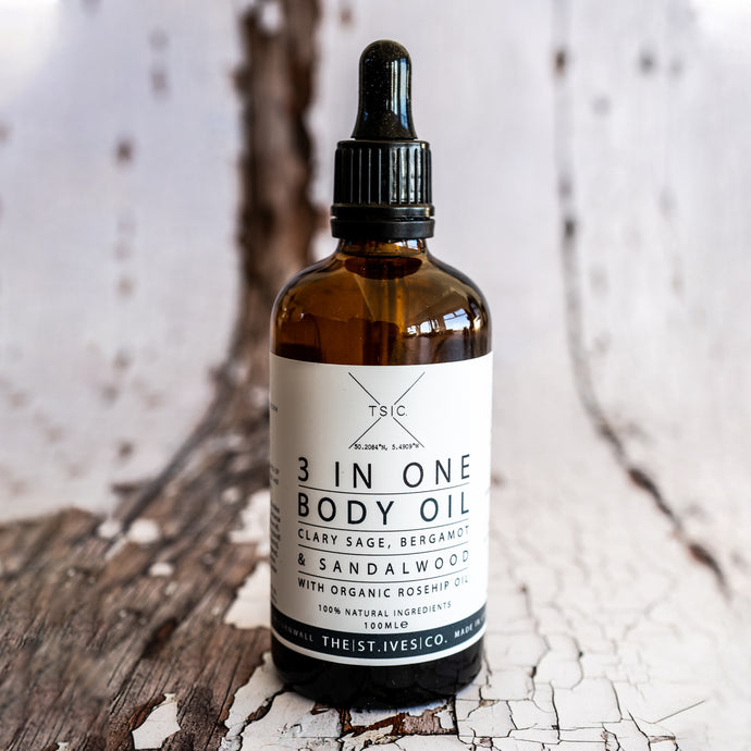 Clary Sage, Bergamot and Sandalwood Body oil with Organic Rose Hip - The St. Ives Co. Cornwall Cornish Souvenir Holiday beach