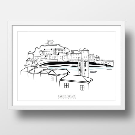 Classic St. Ives View Print - The St. Ives Co. Cornwall Cornish Souvenir Holiday Beach Gift Illustration Art