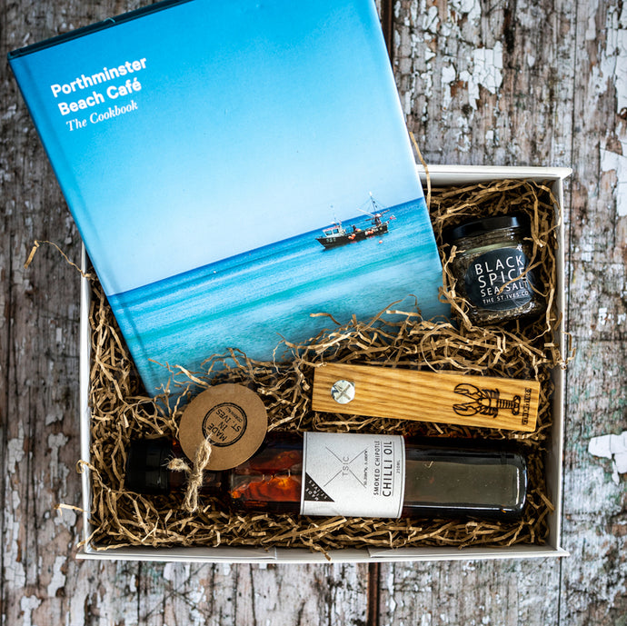 A Cook's Hamper Bottle opener Chilli Oil Black Pice Seasoning Lobster Porthminster Cook Book St Ives Cornwall Cornish Gift Present Unique Quality For Him For her