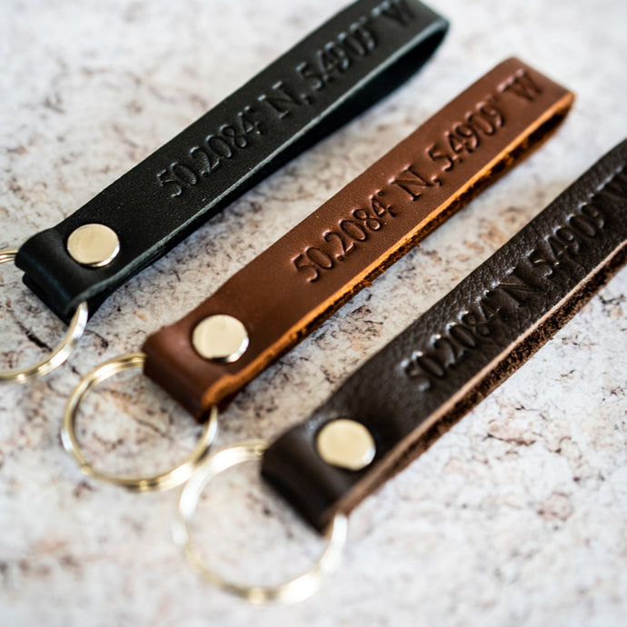 Luxury Coordinates Leather Key Ring - The St. Ives Co. Cornwall Cornish Souvenir Holiday beach Quality Unique For Him Colour Local Best Present Idea Strong