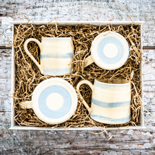 Load image into Gallery viewer, Cornish Stripe Cup & Mug Hamper Gift Set Present Cornish Cornwall Local Handmade Ceramic Quality Unique Hot Drinks Breakfast Lunch Tea Party Coffee Morning Cake