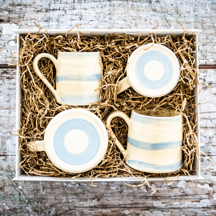 Cornish Stripe Cup & Mug Hamper Gift Set Present Cornish Cornwall Local Handmade Ceramic Quality Unique Hot Drinks Breakfast Lunch Tea Party Coffee Morning Cake