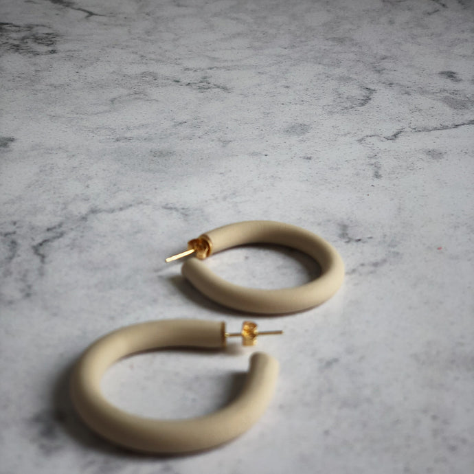 Cream Chunky Hoops Handmade Clay Unique Gift Jewellery For Her Personal Local Craft Quality Beauty Accessory Earrings