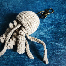 Load image into Gallery viewer, Grey Crochet Jellyfish Keyring Gift Cornish Souvenir Homemade Cotton Original Home Car Keys House Keys For Him For Her Quality Small Batch Independent