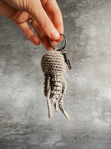 Grey Crochet Jellyfish Keyring Gift Cornish Souvenir Homemade Cotton Original Home Car Keys House Keys For Him For Her Quality Small Batch Independent