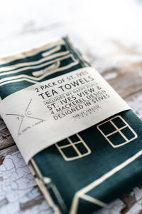 TSIC Dark Teal Printed Teatowels// Pack of 2 - The St. Ives Co. Cornwall Cornish Souvenir Holiday beach
