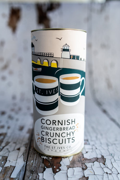 Cornish Gingerbread Crunchy Biscuits Gift Cornish Homemade Cornwall Tea Food Treat Delicious Indulgent Tin St Ives