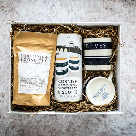 Set of St. Ives Mugs, Biscuits & Something Warm To Drink Hamper