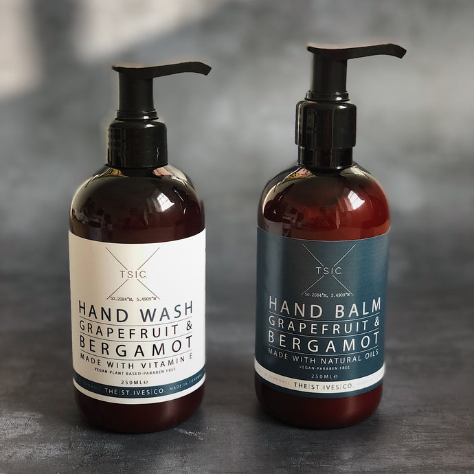 Grapefruit & Bergamot Wash & Balm Quality Clean Fresh Small Batch Independent Caring Soothing Vitamins Natural Local St Ives Cornwall Cornish Kernow Pure